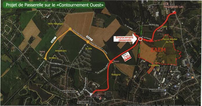 Schéma complet : projet de voirie en rouge et jaune (3 phases), passerelle du Fourçon, et projet de zoning (en pointillés rouges)